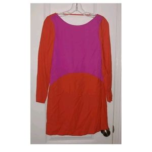 S Maje Colorblock Red/Pink Backless Dress